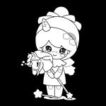 Muñeca Kawaii con varita de hada unicornio camiseta gorro bonita