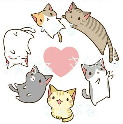 Gatos Kawaii bonitos originales dibujos colorear