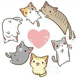 Gatos Kawaii bonitos originales dibujos colorear