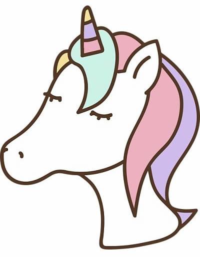 Carita de unicornio Kawaii