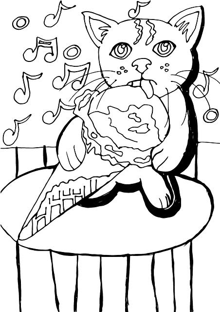Gatito Kawaii comiendo para pintar
