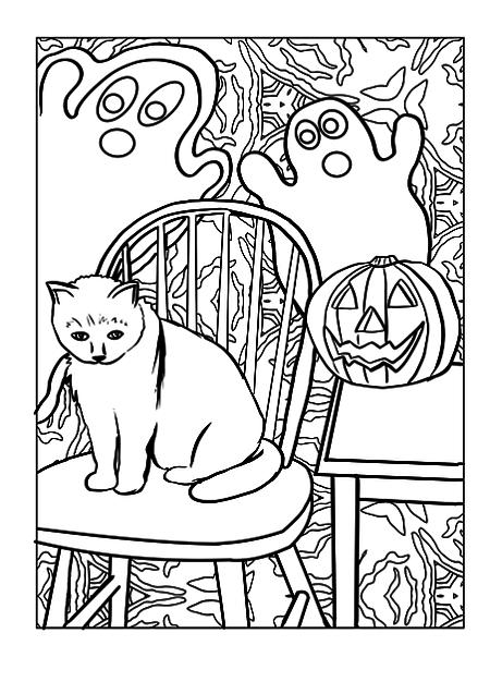 Gato Kawaii encima de silla para dibujar