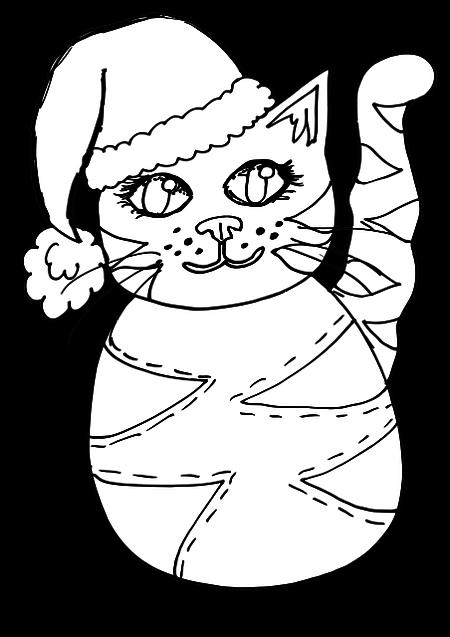 Gato Kawaii navidad para colorear
