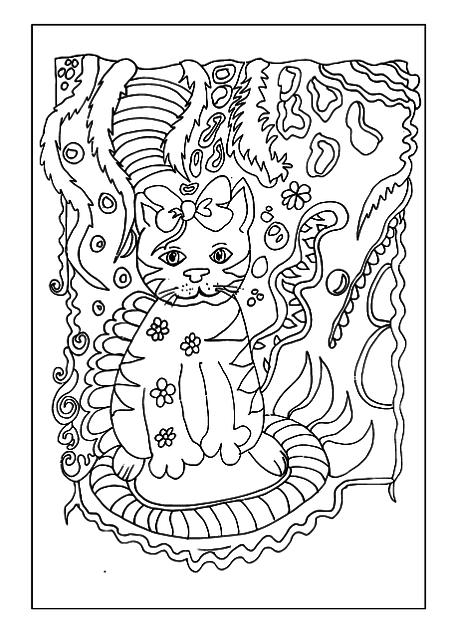 Gato Kawaii para colorear