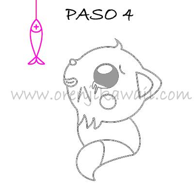 Dibujar Gato Kawaii paso 4