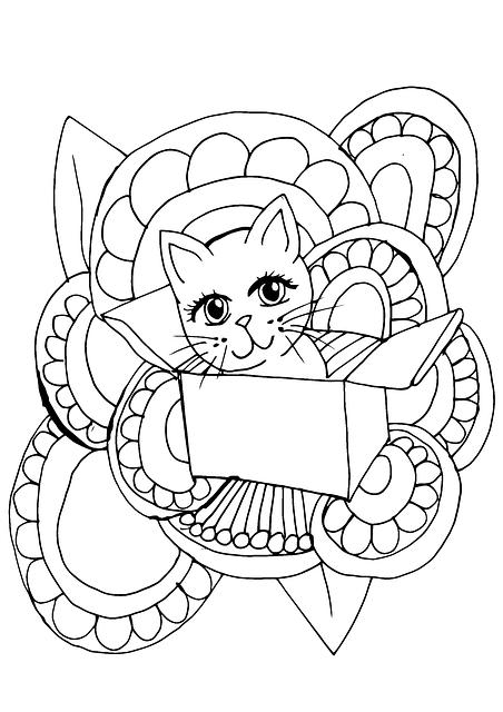 Gato Kawaii regalo para colorear