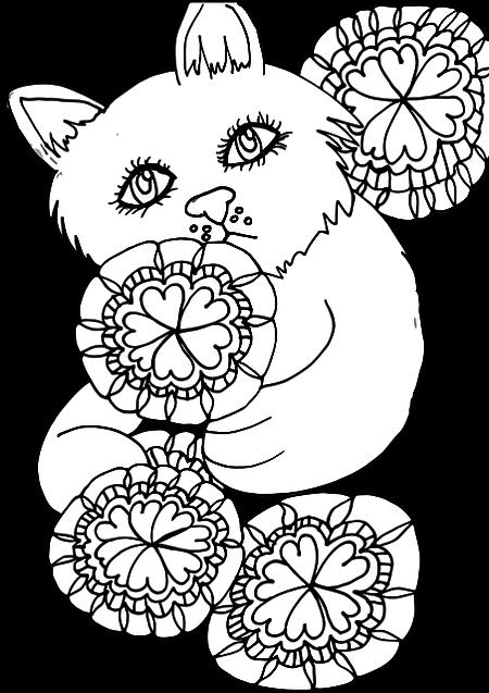 Gato Kawaii tierno para colorear
