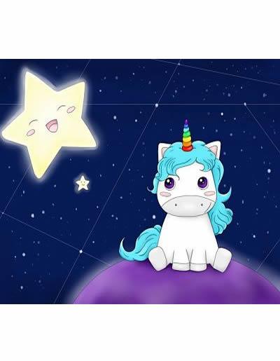 Unicornio Kawaii espacio
