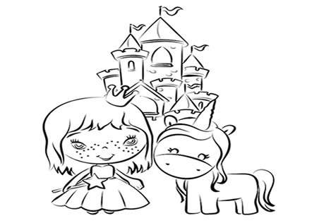 Unicornio Kawaii y princesa con castillo