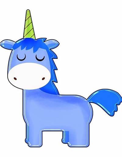unicornio azul kawaii